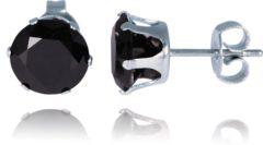 Zilveren LGT JWLS LGT Jewels Stud oorbellen Edelstaal Classic Round Black 8mm