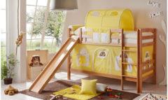 Spiel- & Etagenbett Lupo, Buche massiv natur, 90 x 200 cm, gelb-weiß