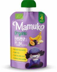Mamuko biologisch knijpfruit - Banaan en pruimen puree 4+ mnd (6 x 100 gr.)
