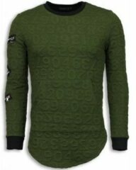 Groene Sweater John H 3D Numbered Pocket - Long Fit
