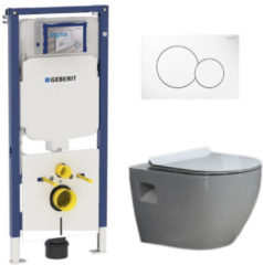 Douche Concurrent Geberit UP720 Toiletset - Inbouw WC Hangtoilet Wandcloset - Daley Flatline Sigma-01 Wit