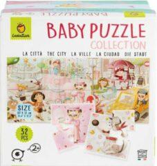 Ludattica Puzzels: DE STAD - Baby puzzel 18x18x10,5cm, 8 puzzels van 4 stukjes (16x16cm) vormen op de achterkant een puzzel van 32 stukjes, 2+