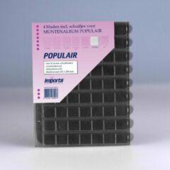 Transparante Importa POPULAIR muntbladen incl. schuifjes, 4 stuks 63-vaks met zwarte schutbladen, geschikt voor 252 munten