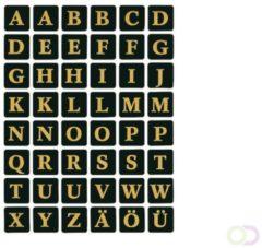 Huismerk Herma 4130 Etiket met letters A-Z 13mm Zwart-Goud - 1 pakje met 2 velletjes