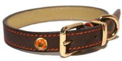 """Bruine Rosewood """"Luxury leather halsband voor hond leer luxe bruin 1,3x25-36 cm"""""""