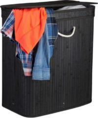 Relaxdays wasmand met deksel - 2 vakken - bamboe wasbox - 72 liter - mand voor wasgoed zwart