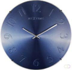 Blauwe NeXtime Elegant Dome - klok - Rond - Glas en kuststof - Stil Uurwerk - Ø 35 cm - Blauw