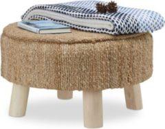 Relaxdays Hocker rund mit Jutebezug und Holzbeinen