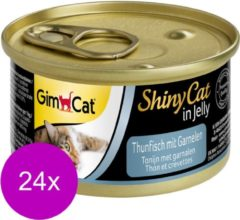 GimCat ShinyCat in Jelly - Tonijn met Garnalen - 24 x 70 gram