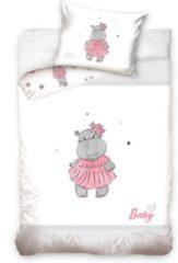 Roze Carbotex Baby Hippo Dekbedovertrek - Ledikant - 100x135 cm - Pink