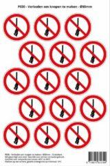 Rode Stickerkoning Pictogram sticker P030 - Verboden om knopen te maken - Ø 50mm - 15 stickers op 1 vel