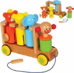 Santoys Circuswagen met 4 muziekpoppen