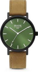 Frank 1967 7FW-0008 - Stalen horloge met lederen band - bruin en groen - Ø 42 mm