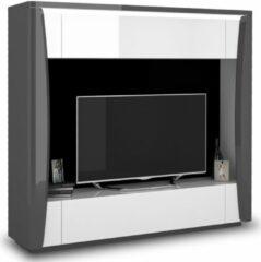 Ameubelment Tv-meubel Tiago 180 cm hoog in hoogglans antraciet met wit