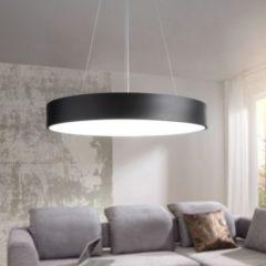 Wohnling LED-Deckenleuchte ROUND rund matt schwarz Metall EEK A+ Büro-Deckenlampe 92 Watt Ø 60 cm Design Arbeitsplatz Hängelampe 7820 Lumen kaltweiß