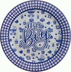 Stemen Kartonnen Bordjes It's A Boy Blauw 18 cm 10 st - Wegwerp borden - Feest/verjaardag/BBQ borden - baby shower