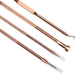 Gouden Saizi Luxe 4 lepels - Mee-eters verwijderen - Professionele kit - Tegen acne en puisten - Comedonendrukker - Comedonenlepel - Meeeter lepel - Beter effect dan maskers of plakkers - Gezichtsverzorging - Voor een verzorgde en gladde huid - roestvrij