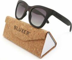 Bluxer® Zonnebril voor Heren en Dames Polaroid - Hippe Houten Zonnebril Gepolariseerd - UV400 Lens - Ebony Wood Veneer - Grijze Lens