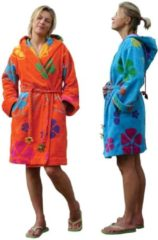 Funky badjas Dames badjas oranje - lengte 100cm - capuchon - velours katoen - maat M/L