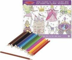 Merkloos / Sans marque Meisjes prinsessenboek met kleurpotloden set