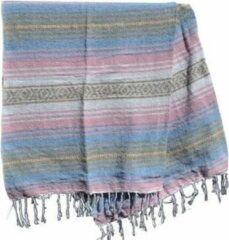 Handgeweven uit Mexico Mexicaanse deken - falsa - gerecycled acryl - 180 x 135 cm - groffe weefstructuur - Anders - MSXZZ0pastel