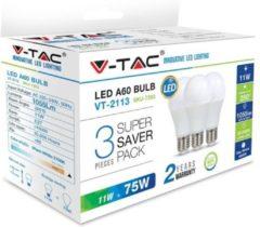 Witte V-tac VT-2113 3-pack LED lampen peertje - E27 - 11W - 1055 Lm -2700K - A60