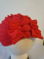 Babygifts4you tulband Baby Turban strikken geschikt voor 6 tot 18 maanden rood