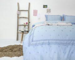 Fancy Embroidery RL 12 - Dekbedovertrek - Eenpersoons - 140x200/220 + 1 kussensloop 60x70 - Blauw