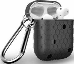YPCd® Apple AirPods Hoesje - Zwart- Honingraat Hard Case