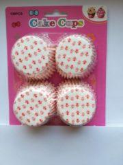 Het Borstelhuis vof Cupcake Vormpjes Papier - Muffin Vormpjes - 100 Stuks - Diameter 5 cm - Wit met roze tulpen