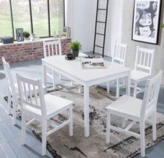 Wohnling Esszimmer-Set EMIL 7 teilig Kiefer-Holz weiß Landhaus-Stil 120 x 73 x 70 cm Natur Essgruppe 1 Tisch 6 Stühle Tischgruppe Esstischset 6 Pers