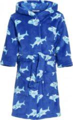 Blauwe badjas/ochtendjas haaien print voor kinderen - Playshoes kinder fleecebadjas 134/140 (9-10 jr)