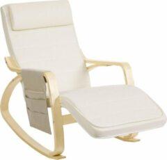 Witte Songmics Schommelstoel Gemaakt Van Berkenhout - Relaxstoel - Ontspannende Stoel