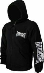 Hardcore Logo Vest Hoodie met Rits en Capuchon Geborduurd Zwart