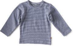 Marineblauwe Little Label - baby - shirt - wit, blauw streep - maat 56 - bio-katoen