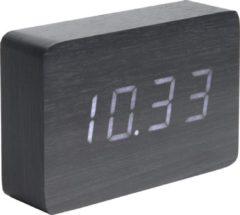 Karlsson Wekkers Alarm clock Square veneer, white LED Zwart