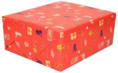 Merkloos / Sans marque XL Sinterklaas kadopapier print rood 2,5 x 0,7 meter op rol 70 gram - Luxe papier kwaliteit cadeaupapier/inpakpapier - Sint en Piet