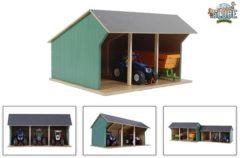 Groene Kids Globe Boerderijschuur voor tractoren klein 1:32 hout 610192