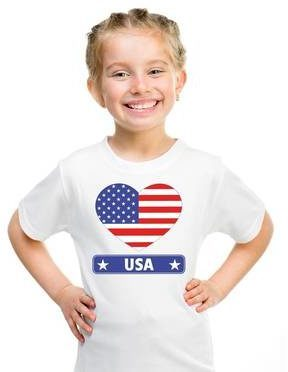 Afbeelding van Shoppartners Amerika/ USA kinder t-shirt met Amerikaanse vlag in hart wit jongens en meisjes M (134-140)