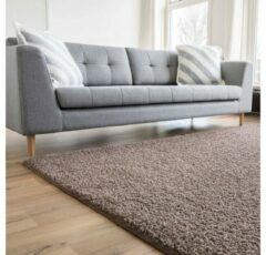 Grijze Interieur05 Hoogpolig Vloerkleed Taupe - Shaggy Collection - 200 x 290 cm (L) - Polypropyleen - 200 x 290 cm - (L)