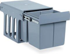 Relaxdays inbouw prullenbak keuken - uitschuifbare vuilnissysteem - 15 liter - grijs