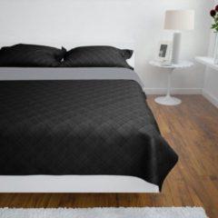 VidaXL Bedsprei gewatteerd dubbelzijdig 170x210 cm zwart/grijs
