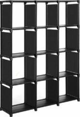 SONGMICS kubusplank, 12 kubusboekenplank, DIY-organizer voor kleedkamer, opbergplank in woonkamer, kinderkamer, badkamer, 105 x 30 x 140 cm, inclusief rubberen hamer, zwart LSN12BK
