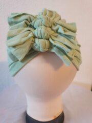 Babygifts4you tulband Baby Turban strikken geschikt voor 6 tot 18 maanden pastel groen