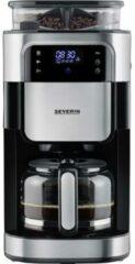 Severin KA 4813 Koffiezetapparaat Zwart, RVS (geborsteld) Capaciteit koppen: 10 Display, Glazen kan, Met koffiemolen, Timerfunctie, Warmhoudfunctie, Met