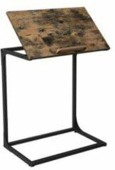 MIRA Home - Bijzettafel industrieel - Laptoptafel - Industrieel - Hout/staal - Zwart/bruin - 55x35x66