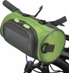 Telestore Fietstas stuurtas met smartphone houder – waterdicht – Fiets tas stuur – Smartphone houder fiets – T/M 6.2 inch - groen