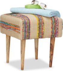 Relaxdays Hocker Vintage mit Baumwollbezug