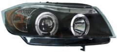 Universeel Set Koplampen BMW 3-Serie E90/E91 Sedan/Touring 2005-2008 - Zwart - incl. Angel-Eyes