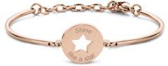 CO88 Collection Inspirational 8CB 90339 Stalen Armband met Hanger - Ster en Shine Like a Star 17 mm - One-size - Rosékleurig